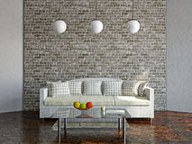 Livingroom with sofa. Near the wall Stock Image