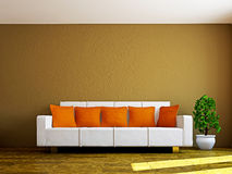Livingroom with sofa and a plant Stock Photos