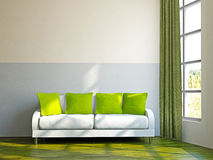 Livingroom with sofa and a plant Stock Images