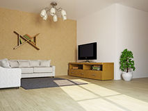 Livingroom with sofas and a table vector illustration