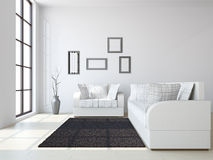 Livingroom with sofas and a vase. Near the windows Stock Images