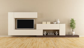 Livingroom with television set Stock Photos