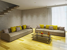 Livingroom  with two sofas. Near the concrete ladder Royalty Free Stock Image