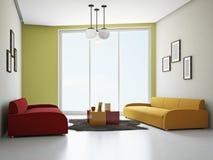 Livingroomen med färgar sofas stock illustrationer