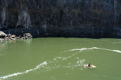 Free LIVINGSTONE - OCTOBER 01 2013: Extreme Kayaker Gets Ready To Att Royalty Free Stock Image - 37004386