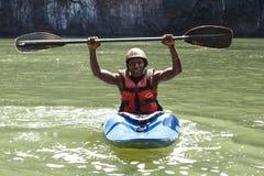 LIVINGSTONE - OCTOBER 01 2013: Extreme kayaker gets ready to att Stock Photos