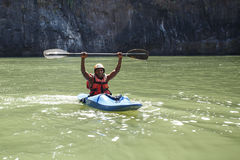 LIVINGSTONE - OCTOBER 01 2013: Extreme kayaker gets ready to att Royalty Free Stock Image