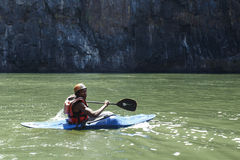 LIVINGSTONE - OCTOBER 01 2013: Extreme kayaker gets ready to att Royalty Free Stock Images