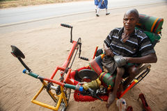 LIVINGSTONE - OCTOBER 14 2013: Local disabled man with an adapte Royalty Free Stock Image