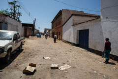 LIVINGSTONE - OCTOBER 14 2013: Local people in the town center o Royalty Free Stock Images