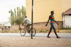 LIVINGSTONE - OCTOBER 14 2013: Local people transit to and from Royalty Free Stock Photo