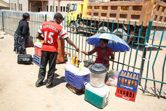 LIVINGSTONE - OCTOBER 14 2013: Street vendors continue to sell t Royalty Free Stock Photo