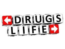 livknappen för droger 3D klickar här kvartertext Fotografering för Bildbyråer