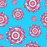 Livlig azur sömlös bakgrund med patchworkblommor Royaltyfri Fotografi