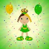 Livlig babe på en grön bakgrund, festlig bakgrund med ballonger Fotografering för Bildbyråer