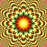 Livlig blommamandala med effekt för optisk illusion Arkivfoton