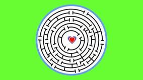 Livlig cirkellabyrint med hjärta Hjärta kommer till mitt av labyrint och börjar att smälta Symbolet av det lyckade sökandet för