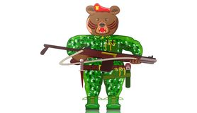 Livlig djur krigareillustration, björn Royaltyfri Fotografi