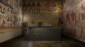 Livlig faraogravvalv i forntida Egypten med bokslutdörrar framförande 3d stock video