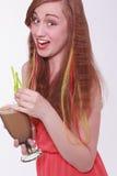 Livlig härlig tonåring som tycker om ett parti Arkivbilder