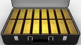 Livlig resväska med guld- stänger arkivfilmer