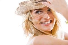 Livlig sund härlig blond kvinna arkivbilder