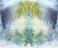 Livlig symmetrycbakgrund Blått-, gräsplan- och gulingvattenfärg abstrakt målning Royaltyfria Foton
