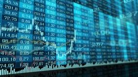 Livlig tabell- och stånggraf av börsmarknadsindex lager videofilmer
