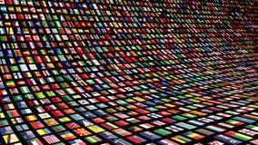 Livlig video vägg med flaggor av många nationer Ögla-i stånd 4K vektor illustrationer