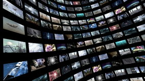 Livlig video vägg som roterar med den gröna skärmen 4K stock illustrationer