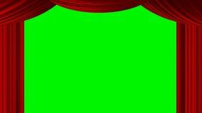 Livlig zoomande röd gardin för hjärta på den gröna skärmchromatangenten för bas för valentin för drama för underhållning för show stock illustrationer
