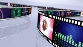 Livliga ögla-i stånd roterande filmrullar Flerfärgad 4K royaltyfri illustrationer