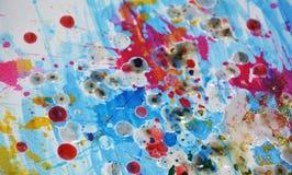 Livliga färgstänk för idérik vattenfärg, abstrakt idérik bakgrund för målarfärg Royaltyfria Bilder