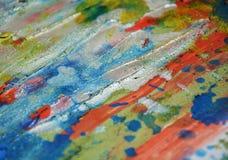 Livliga färgstänk för idérik vattenfärg för silver lerig, abstrakt idérik bakgrund för målarfärg Fotografering för Bildbyråer