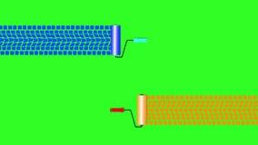 Livliga gummihjulspår på grön skärmbakgrund, målarfärgskrivmaskinsvals animering 4K vektor illustrationer
