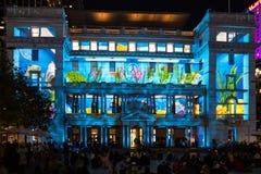 Livliga Sydney 2015: Beställnings- hus som används som en bakgrund för livlig film Arkivfoto