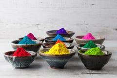 Livligt färgrikt Holi pulver royaltyfri bild