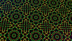 Livligt ljust shinning gröna och gula prickar och stjärnaformer stock illustrationer