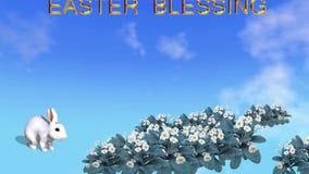 Livligt påskkort med kaninvårblommor och easter som välsignar text