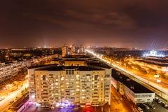 Livoberezhna's high-rise residential buildings near the metro station at night. KYIV, UKRAINE - OCTOBER 17, 2015: Livoberezhna's high-rise residential buildings Royalty Free Stock Photo