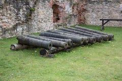 Livoniabeställningsslotten byggdes i mitt av det 15th århundradet med de gamla vapnen och kanonerna Bauska Lettland Royaltyfria Foton