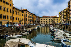 Livorno harbour. Some boats to fisherman in livorno's  harbour Royalty Free Stock Photos