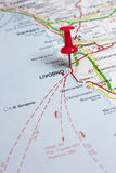 Livorno Italy On A Map. Closeup of Livorno Italy On A Map stock photography