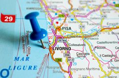 Livorno on map. Close up shot of Livorno on map with blue push pin Stock Photo