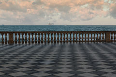 Livorno` s Mascagni Terrace and White Cruise Ship in Background, Stock Image