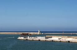 Livorno, Tuscany, Italy, Europe, Mediterranean Sea, Tyrrhenian Sea, port. Italy, 27/08/2017: panoramic view of the port of Livorno, the main port of Tuscany and stock photos