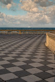 Livorno& x27; s Mascagni Terrace and White Ferry-boat in Background, Stock Photography