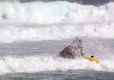 Livräddare som öva havräddningsaktioner Arkivbilder