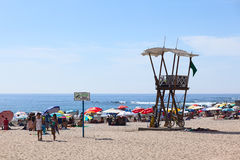 Livräddare Watchtower på den Cavancha stranden i Iquique, Chile Arkivfoto
