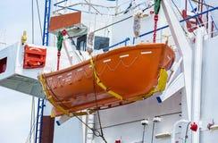 Livräddningsbåt på däcket Royaltyfri Fotografi